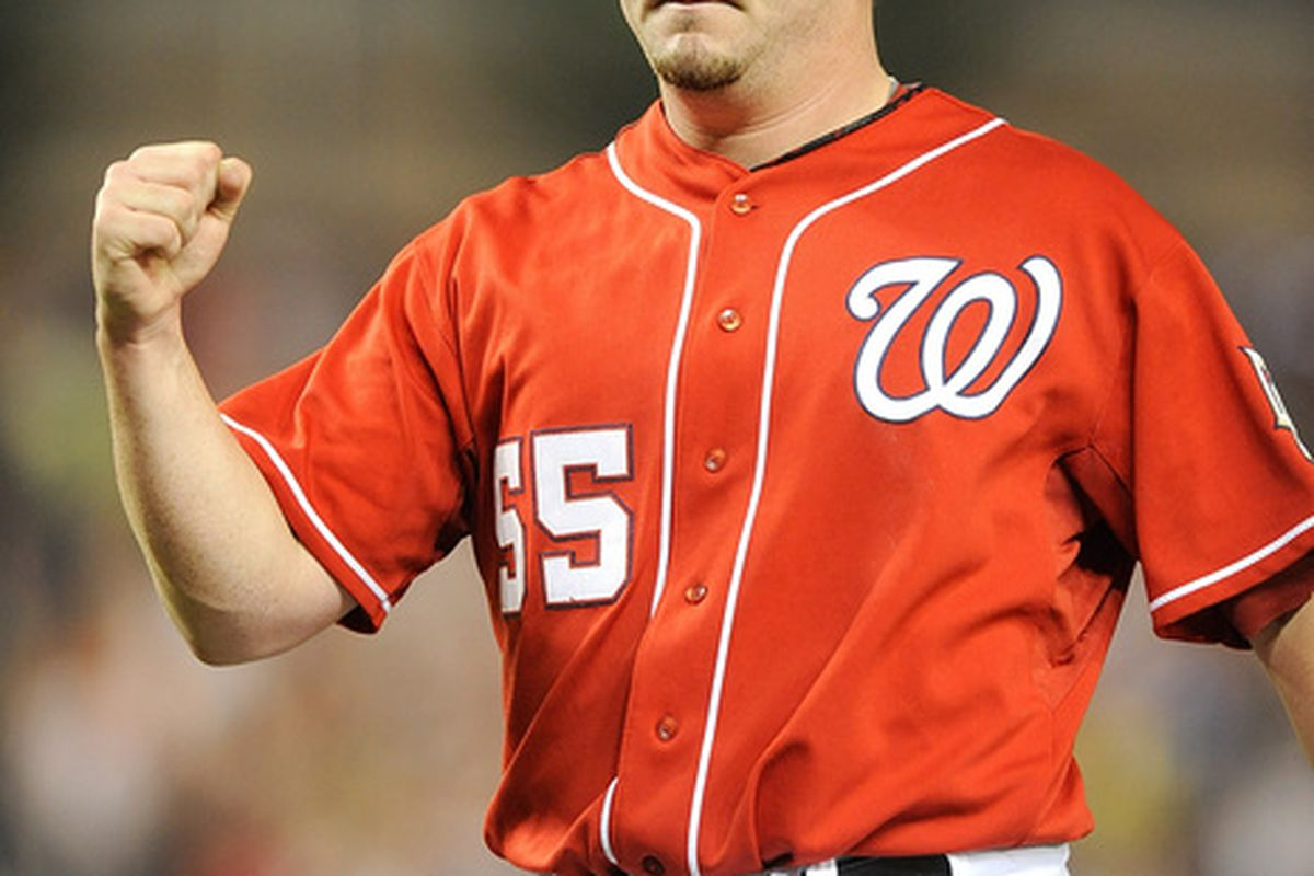 WASHINGTON - JUNE 04:  Matt Capps #55 of the Washington Nationals celebrates after the final out of a 4-2 victory over the Cincinnati Reds at Nationals Park on June 4, 2010 in Washington, DC.  (Photo by Greg Fiume/Getty Images)
