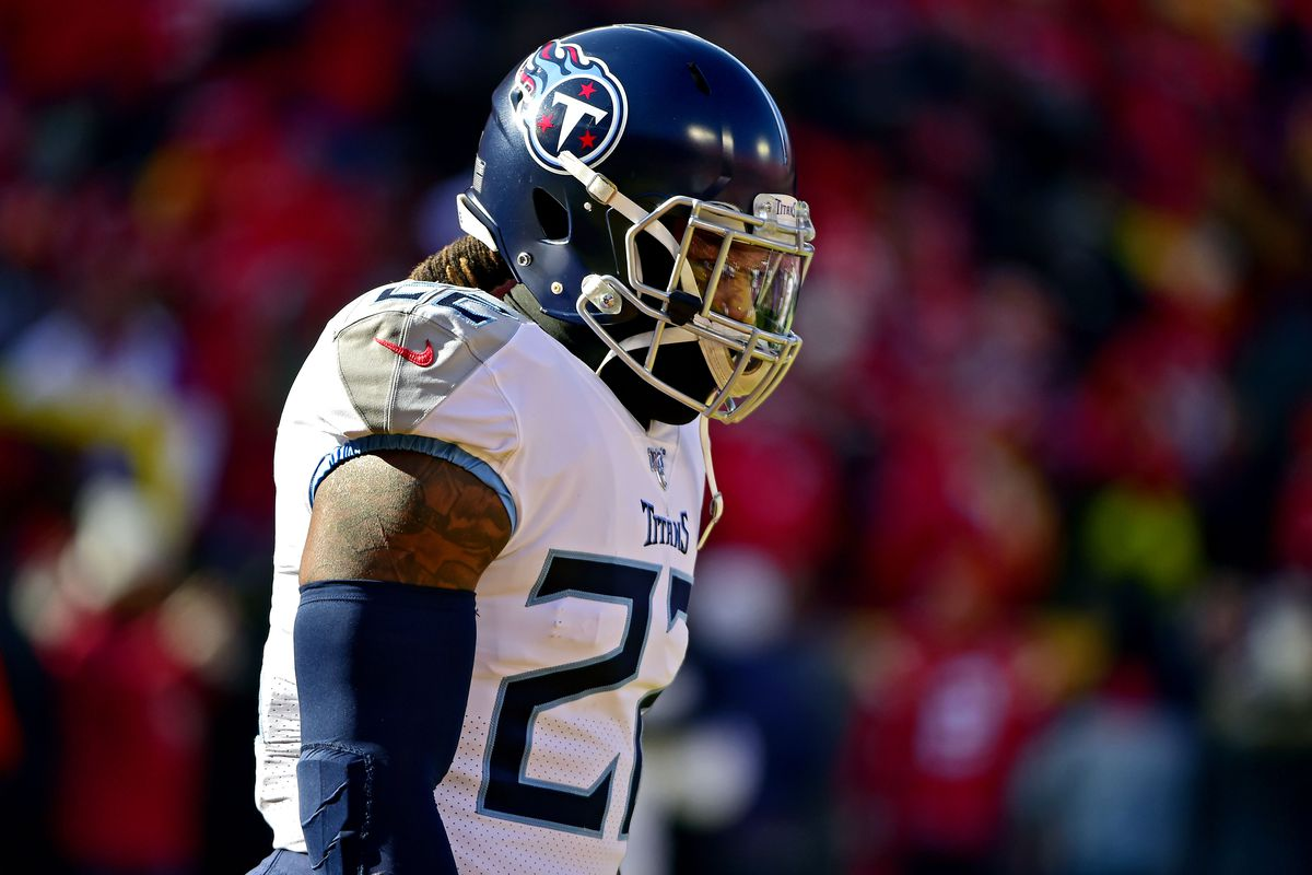 Tennessee Titans running back Derrick Henry before the AFC Championship Game against the Kansas City Chiefs at Arrowhead Stadium.