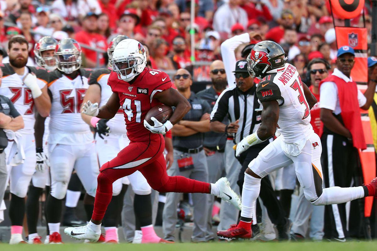Arizona Cardinals running back Kenyan Drake runs with the ball as Tampa Bay Buccaneers free safety Jordan Whitehead defends during the second half at Raymond James Stadium.
