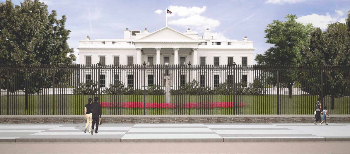 A rendering of the new, planned White House fence. It will be about 13 feet tall.