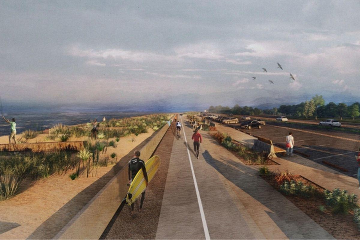 A rendering of people walking along new barriers on Ocean Beach.