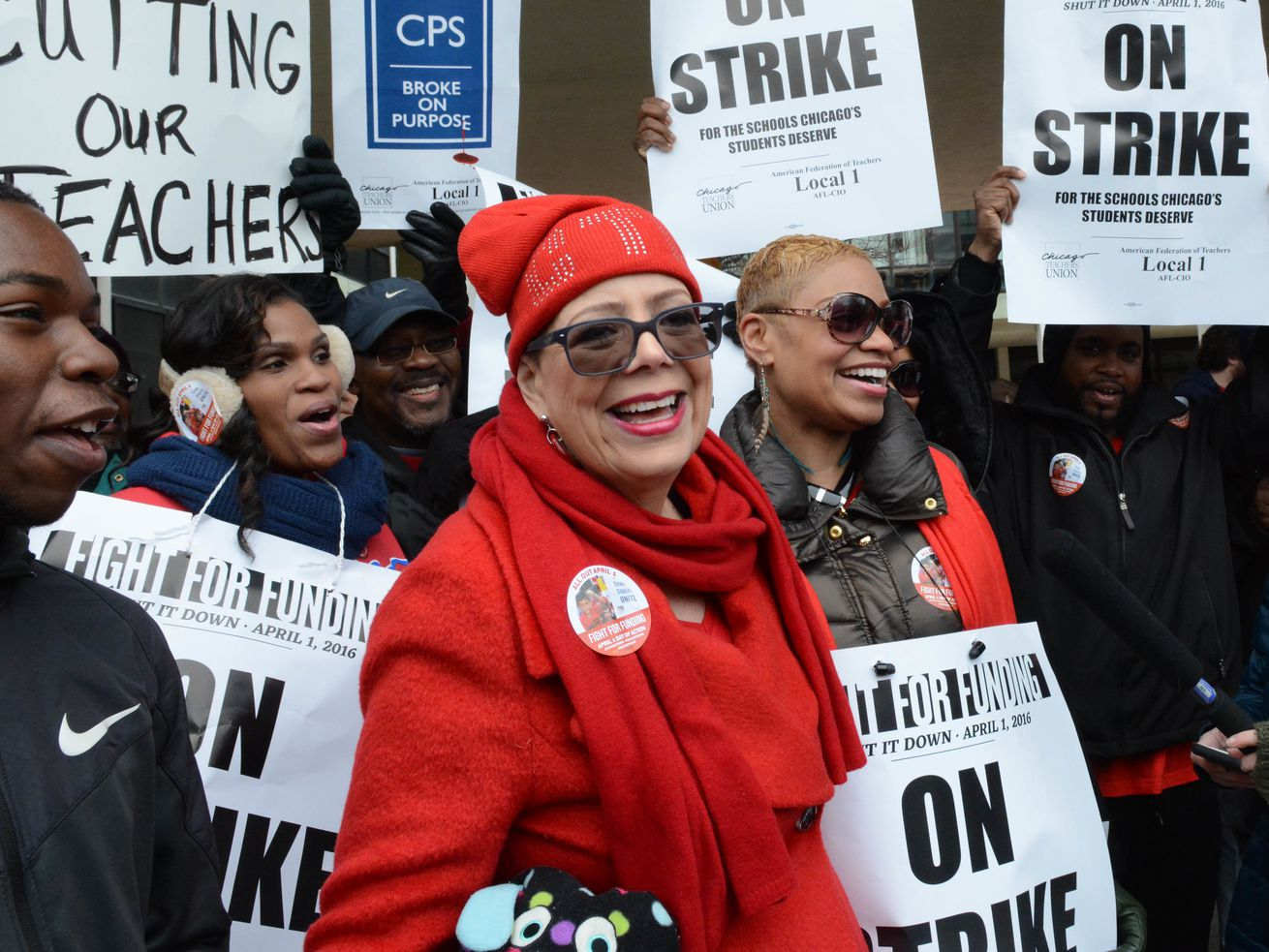 CTU President Karen Lewis with teachers and supporters, on a one-day strike in April 2012.