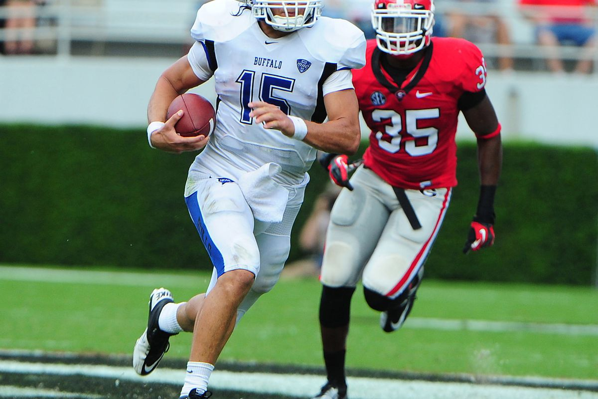 ATHENS, GA - SEPTEMBER 1: Alex Zordich #15 of the Buffalo Bulls scrambles against the Georgia Bulldogs at Sanford Stadium on September 1, 2012 in Athens, Georgia. (Photo by Scott Cunningham/Getty Images)