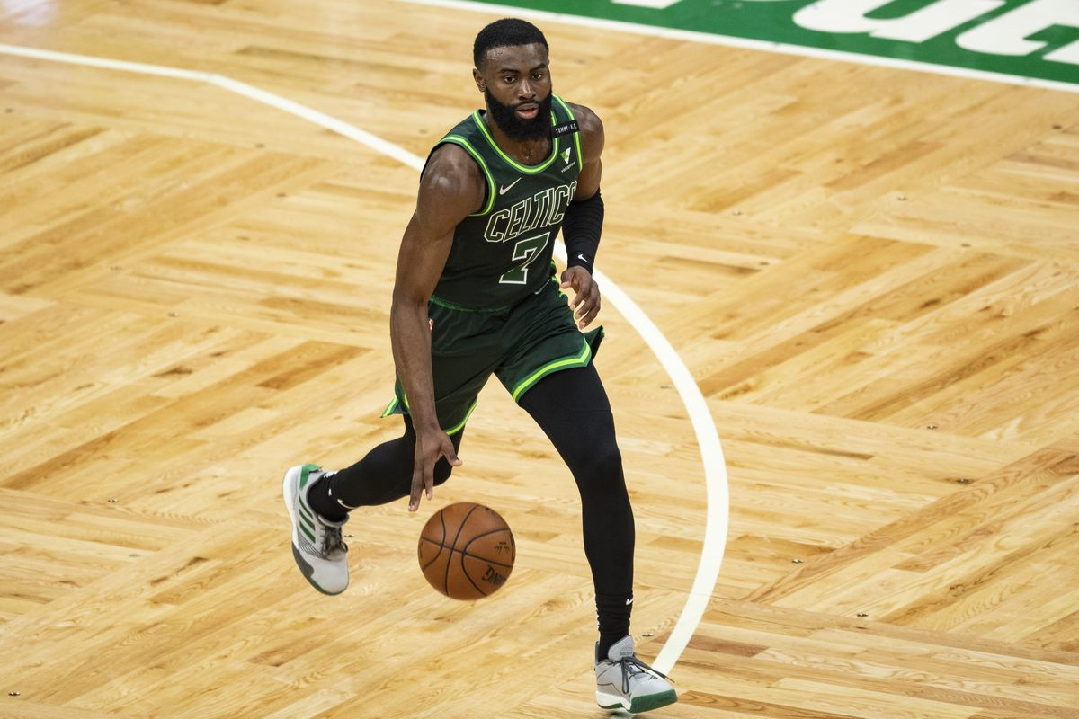 Jaylen Brown of the Boston Celtics drives to the basket during the second half against the Portland Trail Blazers at TD Garden on May 02, 2021 in Boston, Massachusetts.