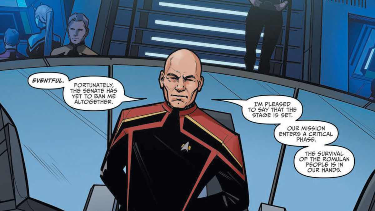 Admiral Picard stands on the bridge of the Verity in Star Trek: Picard - Countdown #1, IDW Publishing (2019).