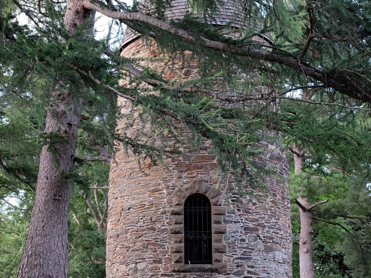 A cylindrical stone tower in a forest.