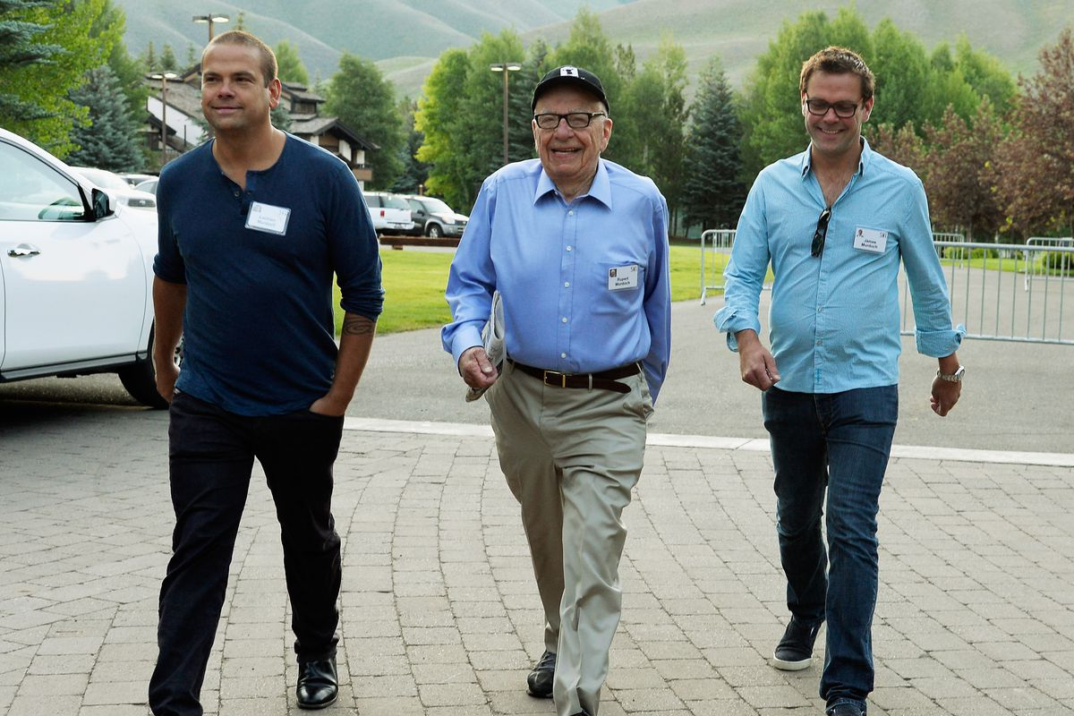 left to right: Lachlan Murdoch; executive chairman of News Corp and chairman and CEO of 21st Century Fox Rupert Murdoch; deputy COO of News Corp James Murdoch