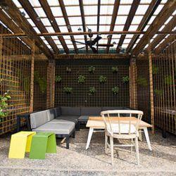 Outdoor cabana on patio