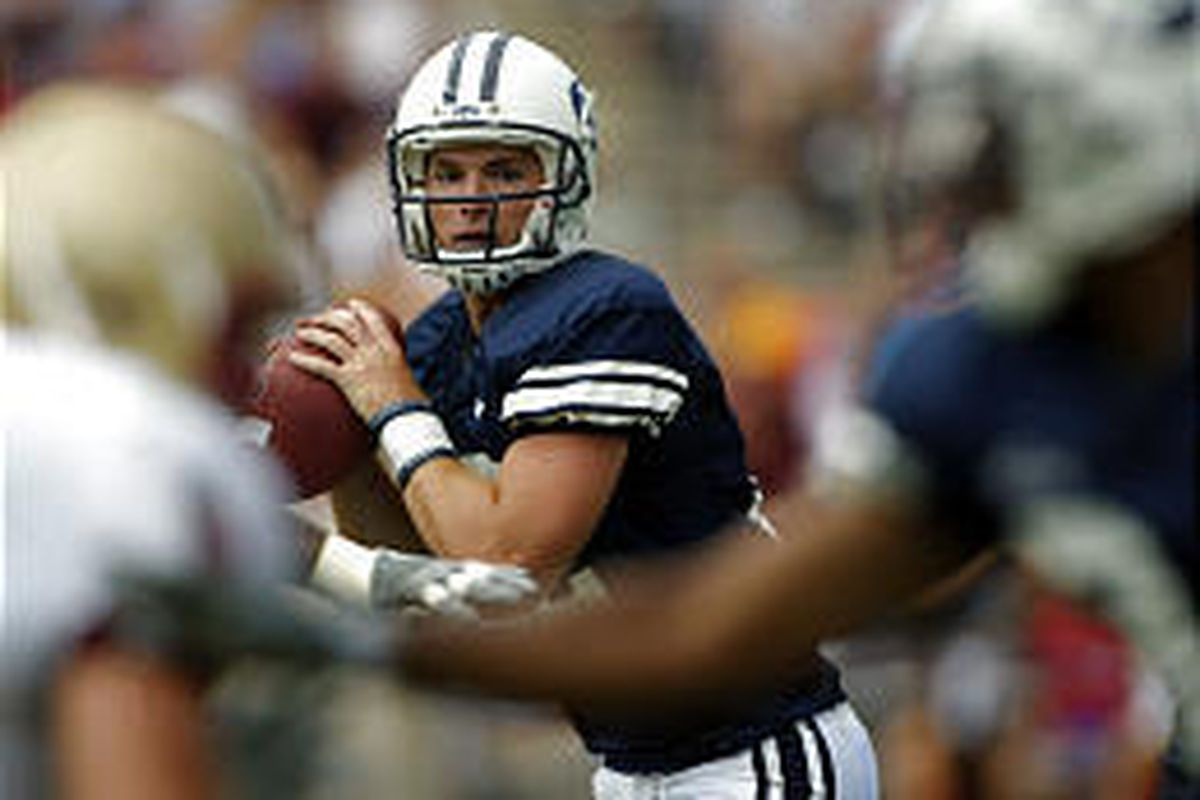 BYU quarterback John Beck looks for a receiver during the Cougars' 20-3 loss to Boston College Saturday in Provo.