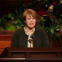 Sister Sharon Eubank, first counselor in the Relief Society general presidency, speaks during the Saturday evening session of the 191st Semiannual General Conference of The Church of Jesus Christ of Latter-day Saints in the Conference Center in Salt Lake City on Saturday, Oct. 2, 2021.