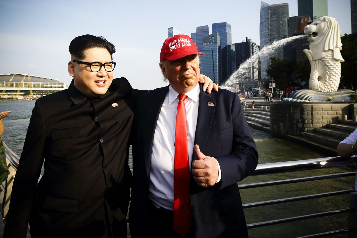 Image result for Trump and Kim on Sentosa Island