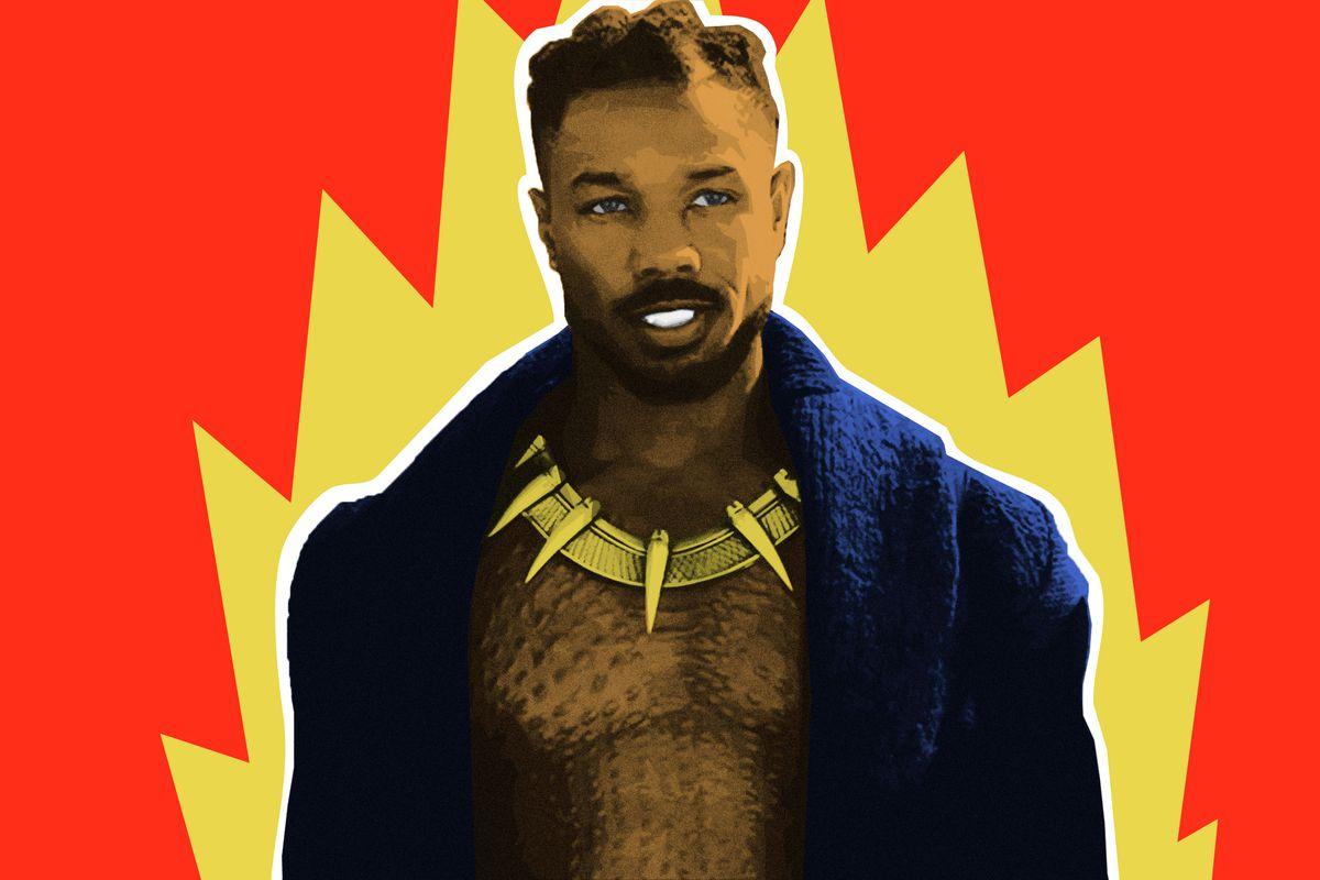 A photo illustration of Michael B. Jordan as Erik Killmonger in 'Black Panther'