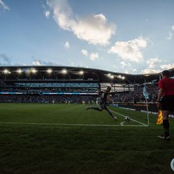 July 10, 2019 - Saint Paul, Minnesota, United States - Jan Gregus takes a corner during the quarterfinal match of US Open Cup between Minnesota United and New Mexico United at Allianz Field. (Tim C McLaughlin)