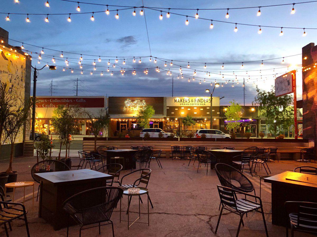 A patio at dusk