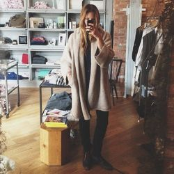 """This is me, trying on clothes in the shop. This is the <b><a href=""""http://laurenmanoogian.com/"""">Lauren Manoogian</a></b> Capote Coat that I've been dreaming about. It has a hood AND pockets—perfect for travel. I might even want to sleep in in it. I must m"""