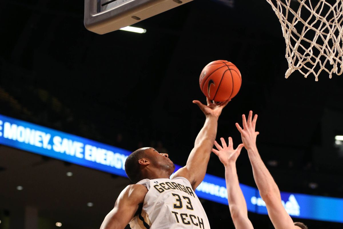 James White goes up for a rebound