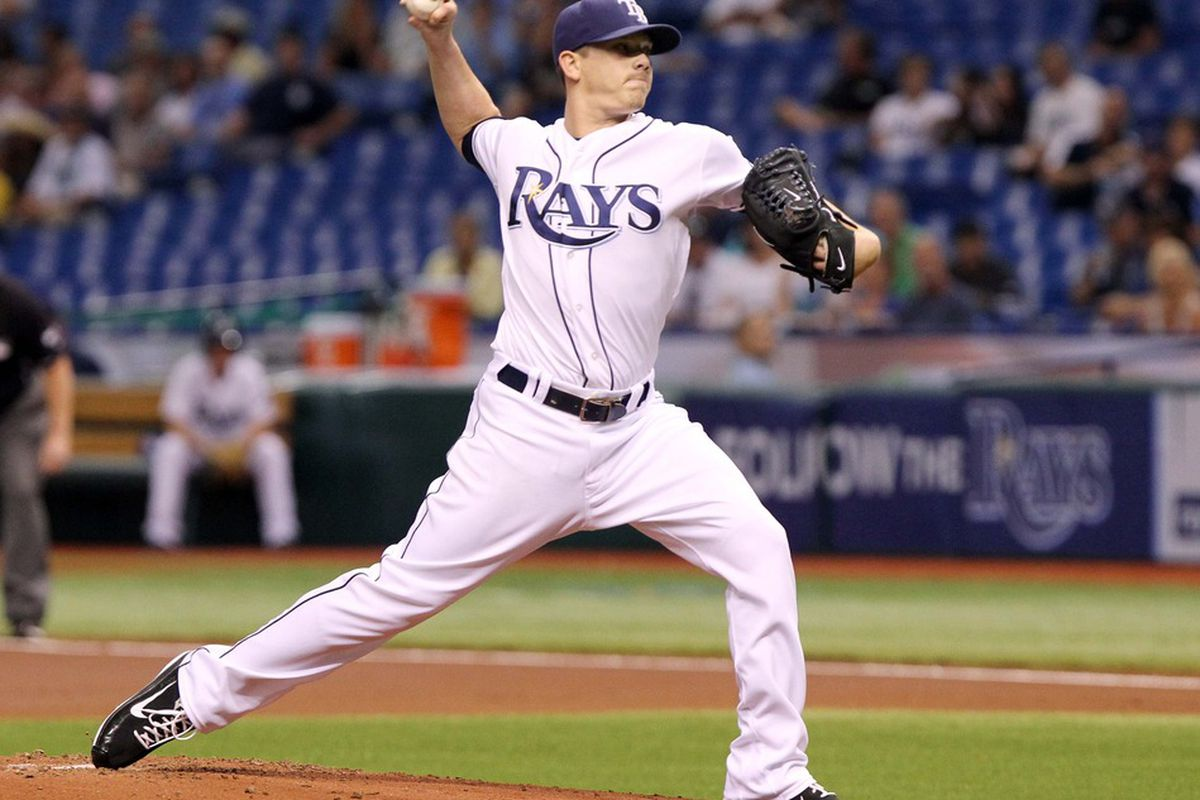 May 5, 2012; St. Petersburg, FL, USA; Tampa Bay Rays starting pitcher Jeremy Hellickson (58) throws a pitch in the first inning against the Oakland Athletics at Tropicana Field. Mandatory Credit: Kim Klement-US PRESSWIRE