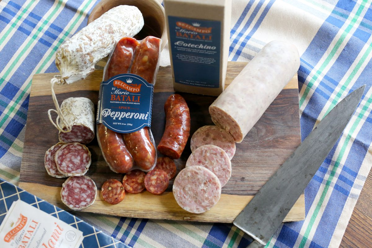The full line of salumi, with salami, pepperoni and cotechino pictured, left to right.
