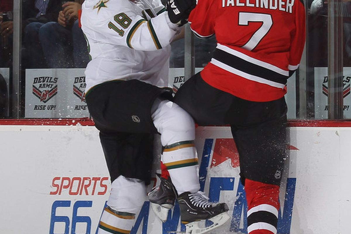 Will Henrik Tallinder play better tonight?  For the Devils' sake, I hope so.  The Capitals don't mess around.  (Photo by Bruce Bennett/Getty Images)