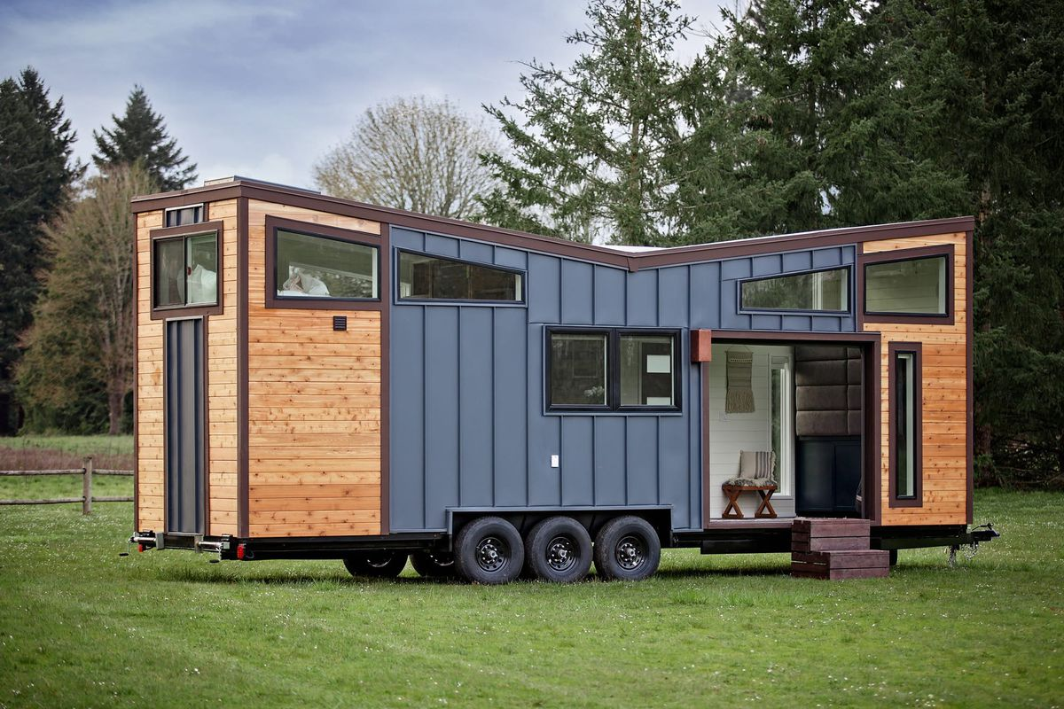Outside of tiny house in field