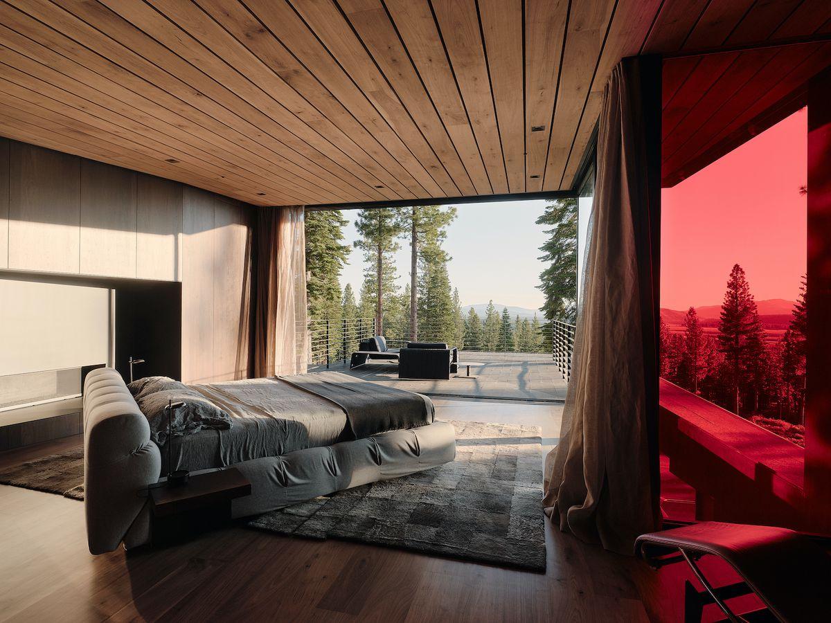 Bedroom facing large deck.