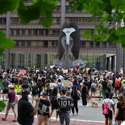 """March For US 2020 """"Million Man March"""" participants marched to Daley Plaza, June 19, 2020."""