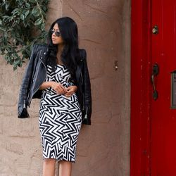"""Sheryl of <a href=""""http://www.walkinwonderland.com""""target=""""_blank"""">Walk in Wonderland</a> is wearing a Bebe dress, a Zara jacket, Topshop shoes, <a href=""""http://www.wanderlustandco.com/collections/rings-newest/products/double-stud-xl-ring-2""""target=""""_bla"""
