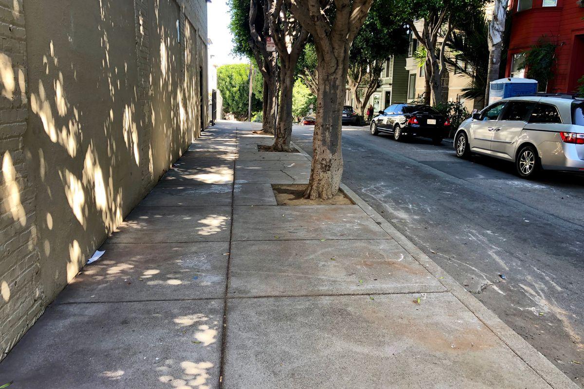 A street sidewalk clear of any debris.