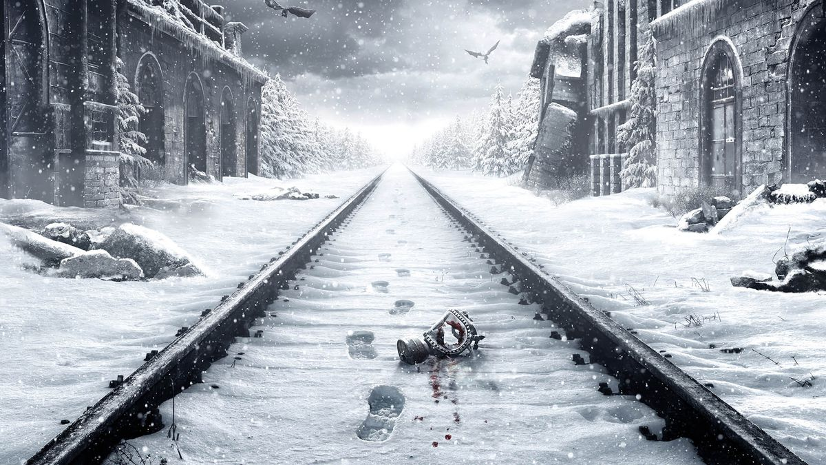 This key art from Metro Exodus shows a bloodied gas mask laying on a snowy railroad tracks. Footsteps in the snow lead away from the tracks.