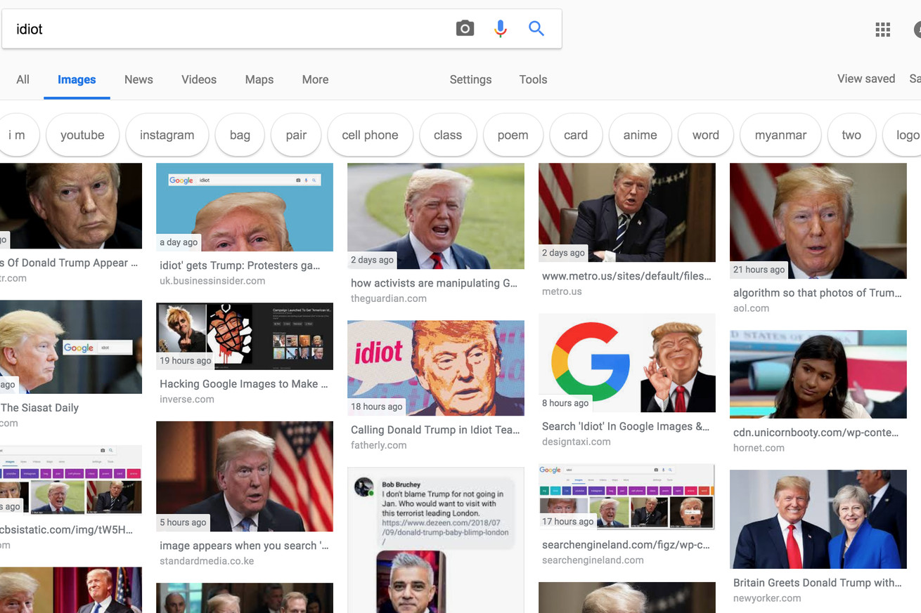 online activists flood google search results for idiot with images of trump