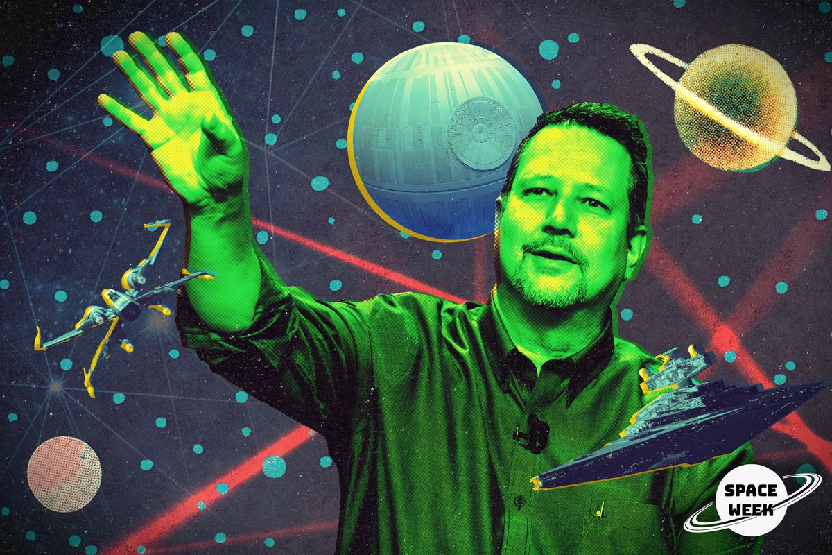 John Knoll in front of a space-themed background