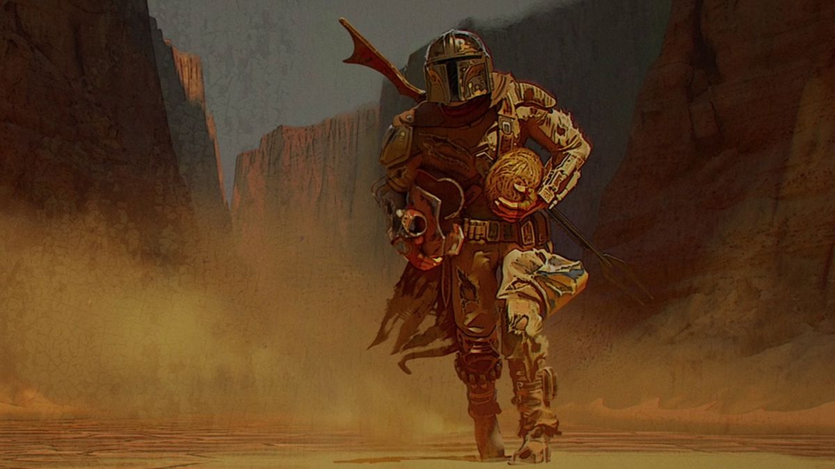 The Mandalorian holds an egg as he returns to the jawas