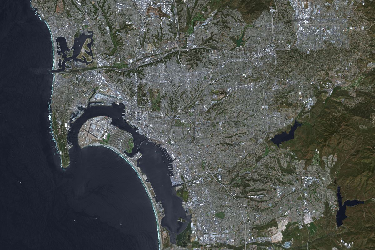 SAN DIEGO, CALIFORNIA, March 12, 2017: This is an enhanced Sentinel Satellite Image of San Diego, California and Tijuana, Mexico.