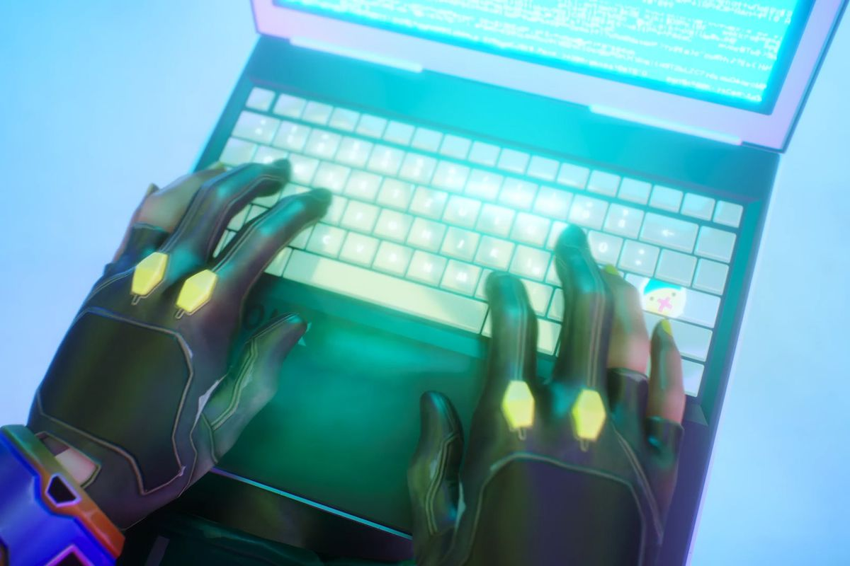 Killjoy using a laptop in Valorant