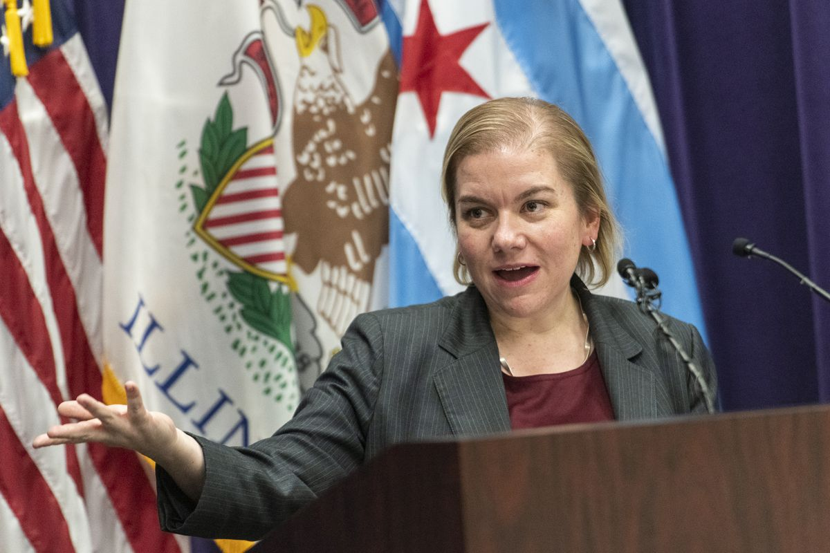 Dr. Allison Arwady, commissioner of the Chicago Department of Public Health, speaks to reporters earlier this week.