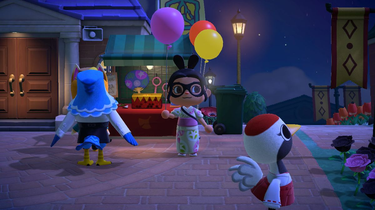 An Animal Crossing character holds a Pink Balloon