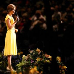 Jane Clayson Johnson co-hosts Golden Days, A Celebration of Life, in honor of President Thomas S. Monson's 85th birthday at the LDS Conference Center in Salt Lake City on Friday, Aug.  17, 2012.