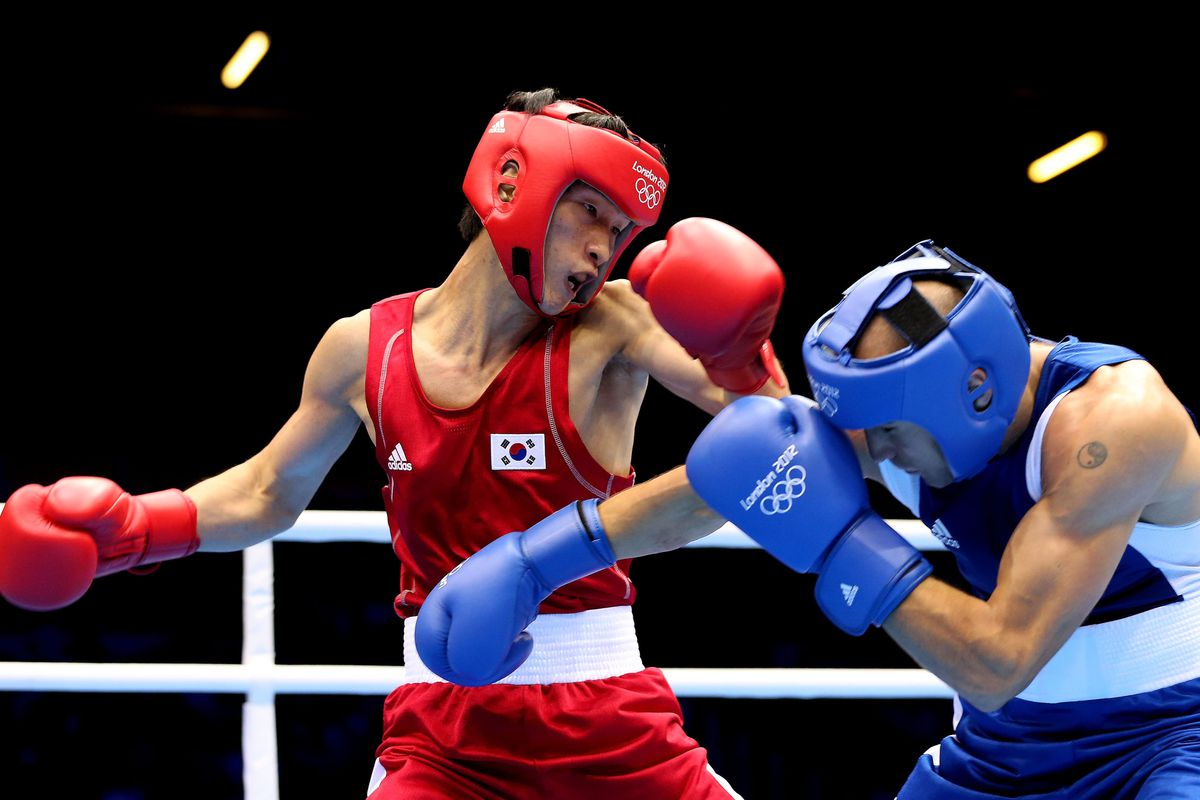Soonchul Han of South Korea will face Ukraine's Vasyl Lomachenko in the lightweight gold medal match on Sunday. (Photo by Scott Heavey/Getty Images)