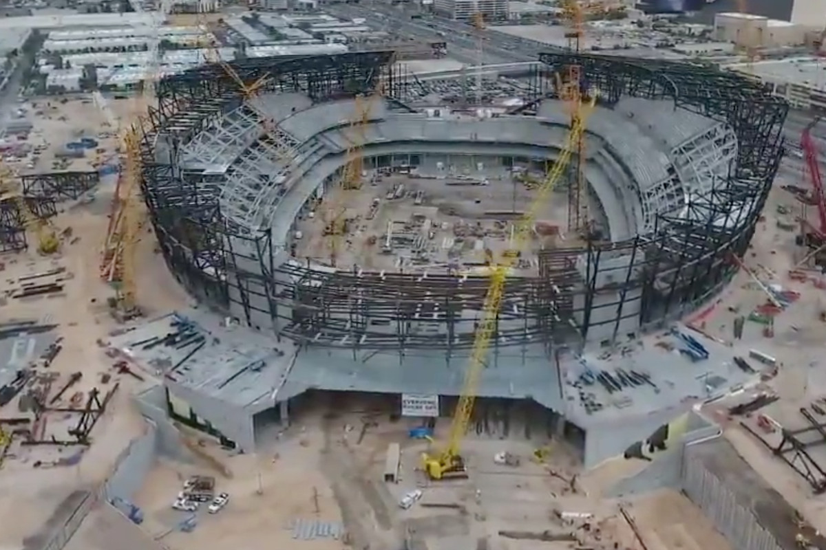 72f690ace Watch  Drone footage of Raiders Las Vegas stadium under construction ...