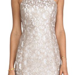 <b>Indoor Outfit:</b> Inside shoots, Kohn says, tend to be a bit more formal. A clean silhouette without too many details are a good option for indoors. This champagne colored lace overlay dress is dressy and has a bridal feel. <b>Nookie Lovelace racer fr