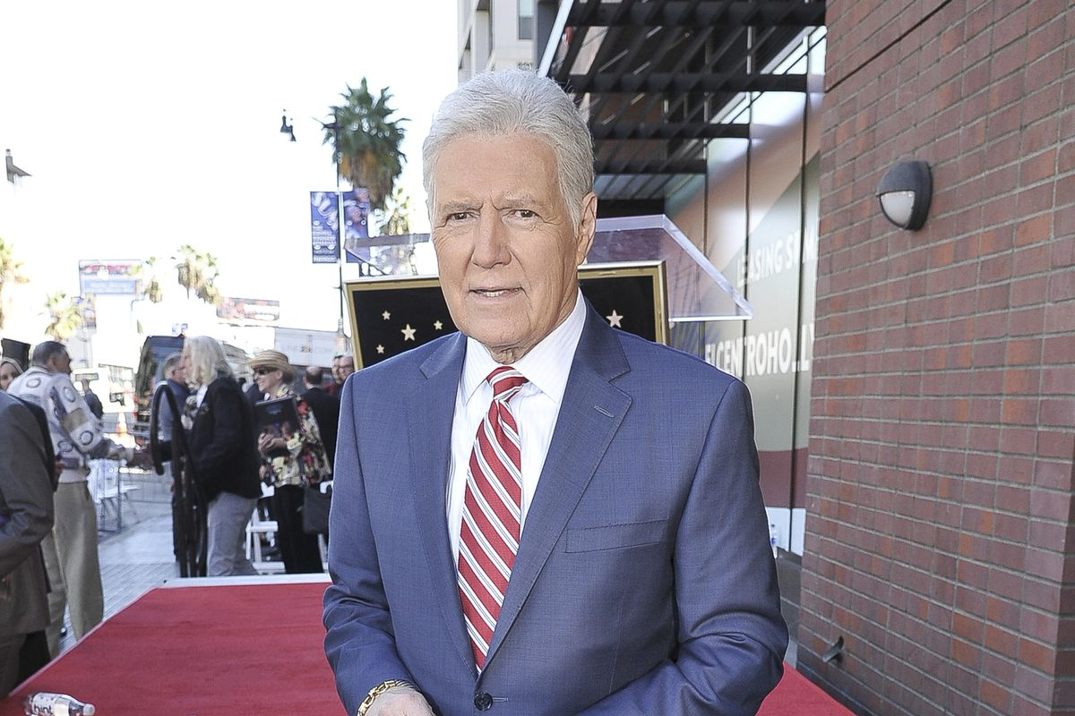 Alex Trebek attends a ceremony honoring Harry Friedman with a Star on the Hollywood Walk of Fame on Friday, Nov. 1, 2019, in Los Angeles. (Photo by Richard Shotwell/Invision/AP) ORG XMIT: CAPS104
