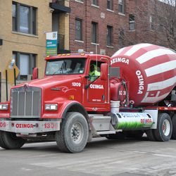 Cement truck about to enter the work site