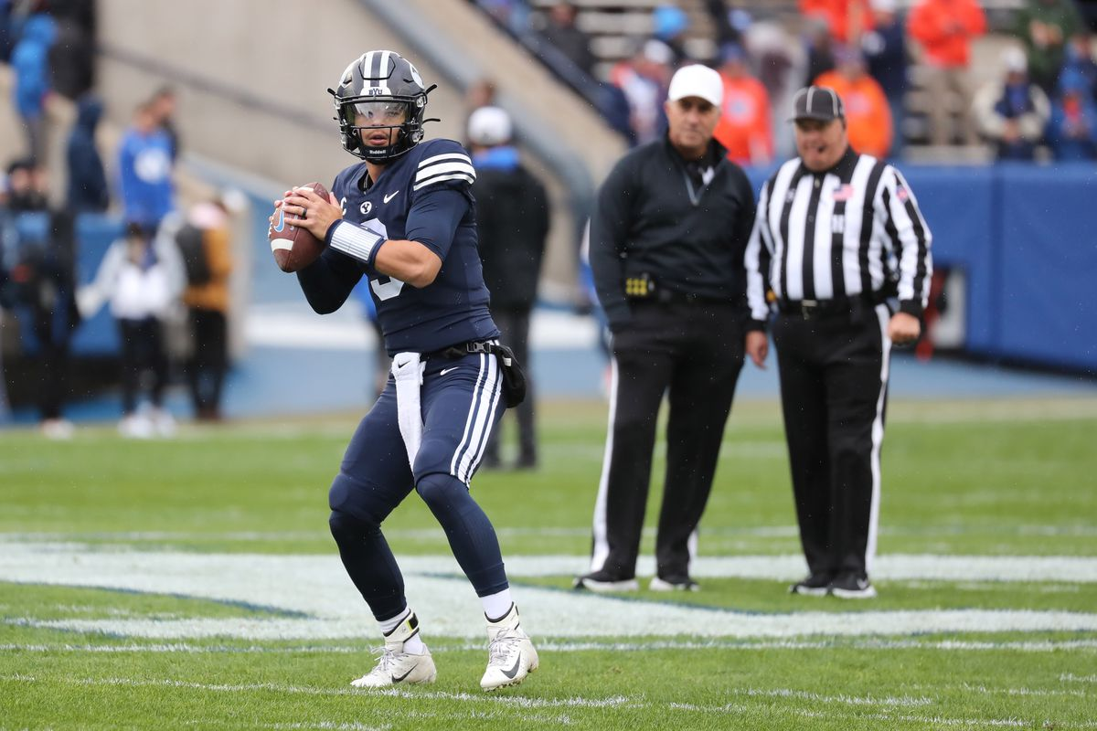 Brigham Young Cougars quarterback Jaren Hall (3) warms up prior to a game against the Boise State Broncos at LaVell Edwards Stadium.
