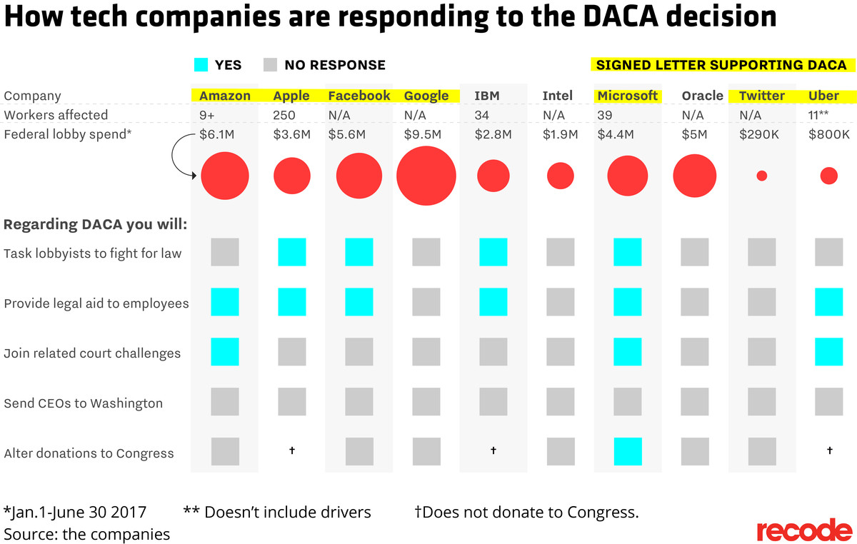 Report card showing ow tech companies are responding to the DACA decision
