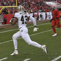 New Orleans Saints free safety Marcus Williams (43) runs an interception by Tampa Bay Buccaneers quarterback Jameis Winston back for a score during the second half of an NFL football game Sunday, Nov. 17, 2019, in Tampa, Fla.