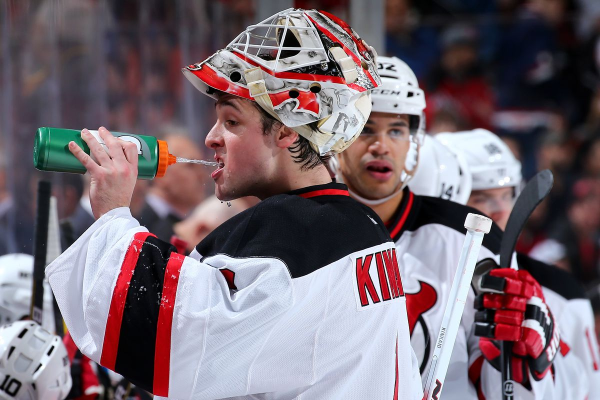 Since there were no pictures from tonight's game, here's a picture of tonight's winning goalie getting hydrated from a game last season.