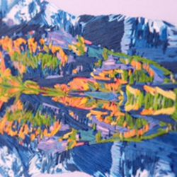 Artist Stephanie Kelly Clark works is embroidery on canvas, as seen here and is participating in the first Mormon Arts Center Festival in New York City, from June 29 through July 1.