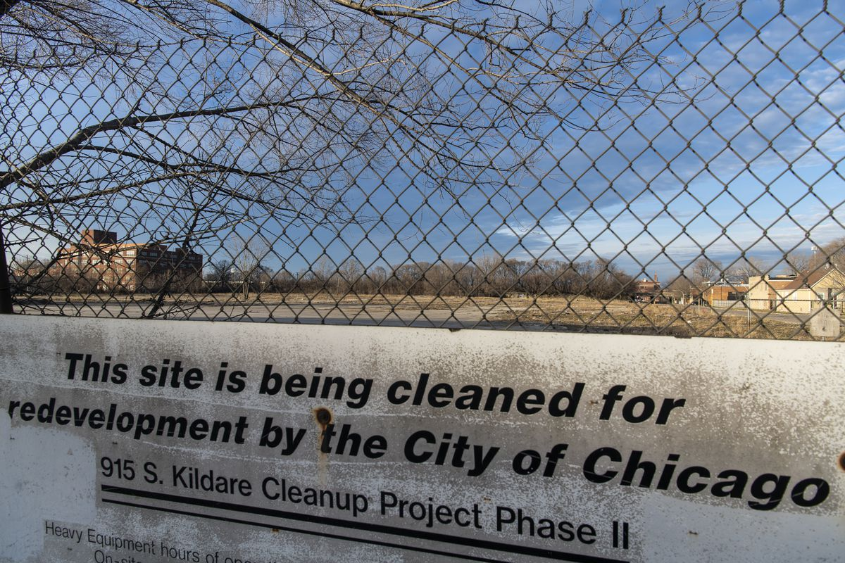Part of the vacant site running northeast from Roosevelt Road and Kostner Avenue, as seen last December.