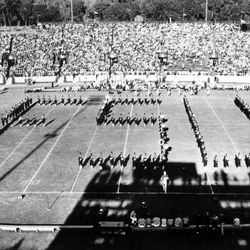 <strong>1955- Florida State University Marching Chiefs band in formation during homecoming game</strong>