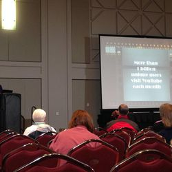 RootsTech presenter Lisa Cooke teaches class members how to create and use their own YouTube channel for family history work.